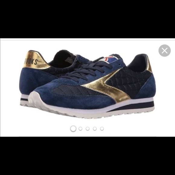 Brooks Sneakers Navy Blue With Gold